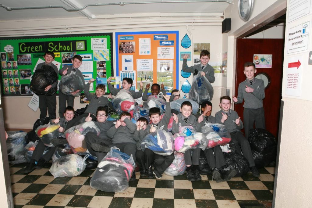 Parents Association Fran McArdle arranged clothes bag collection.  Collected 630kgs.  Well done lads.
